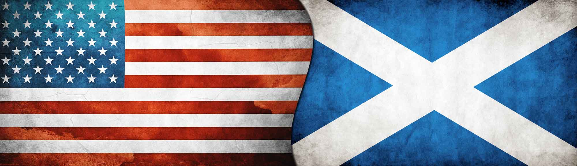 American and Scotland flags
